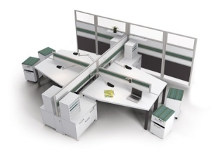 Collaborative workstation using existing taller systems panels for electrical/data and acoustics